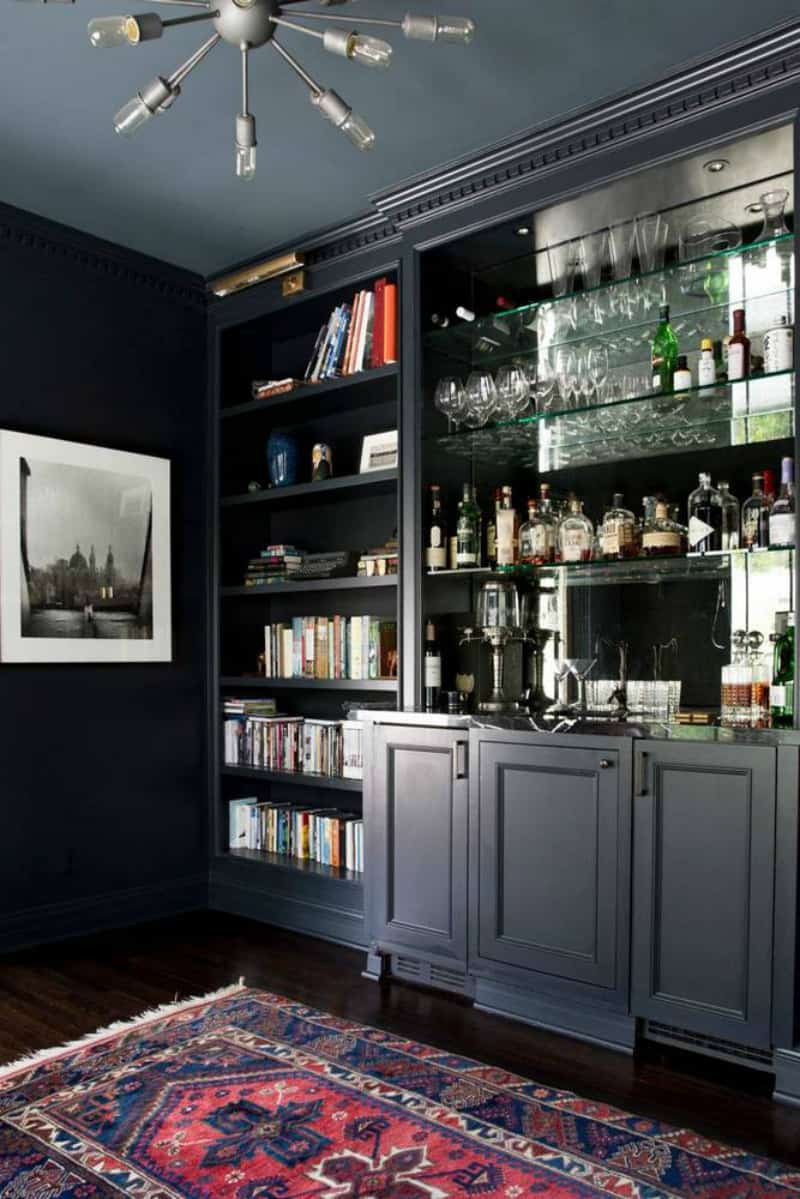 Stylish black home bar