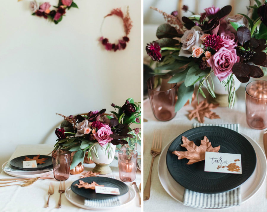 Thanksgiving friendly dinner tablescape