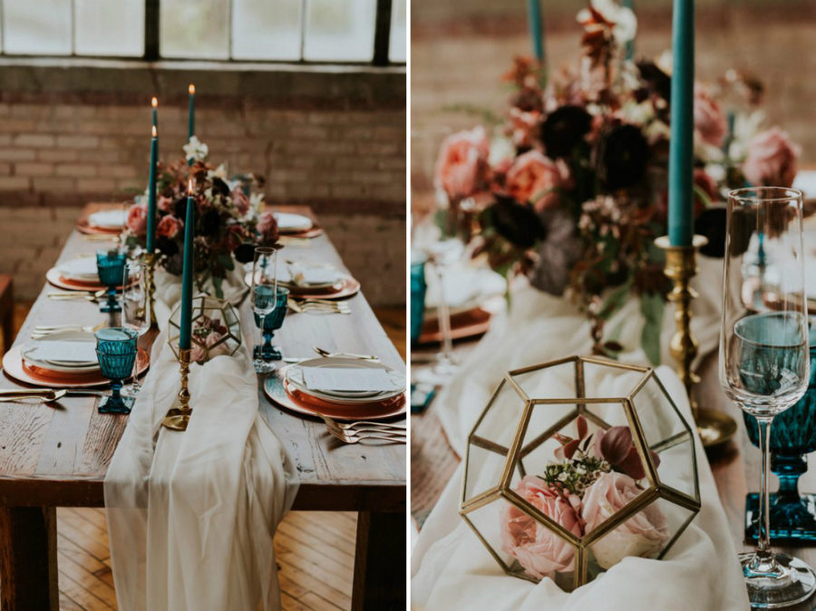 Turquoise Accents In Fall Wedding Tablescape