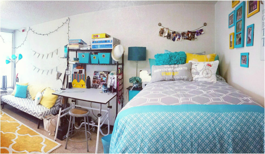 Turquoise and yellow dorm room