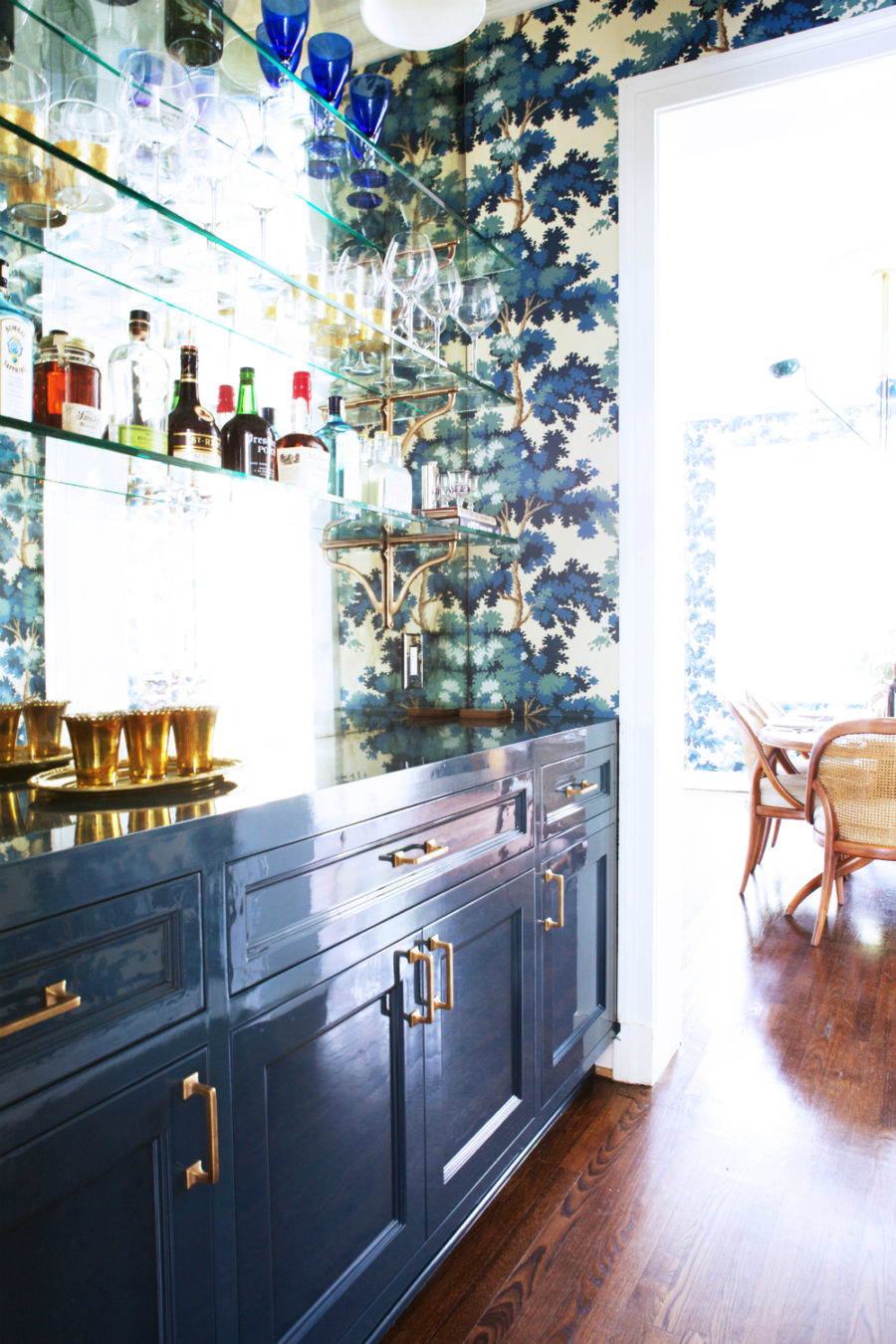 Wallpapered home bar