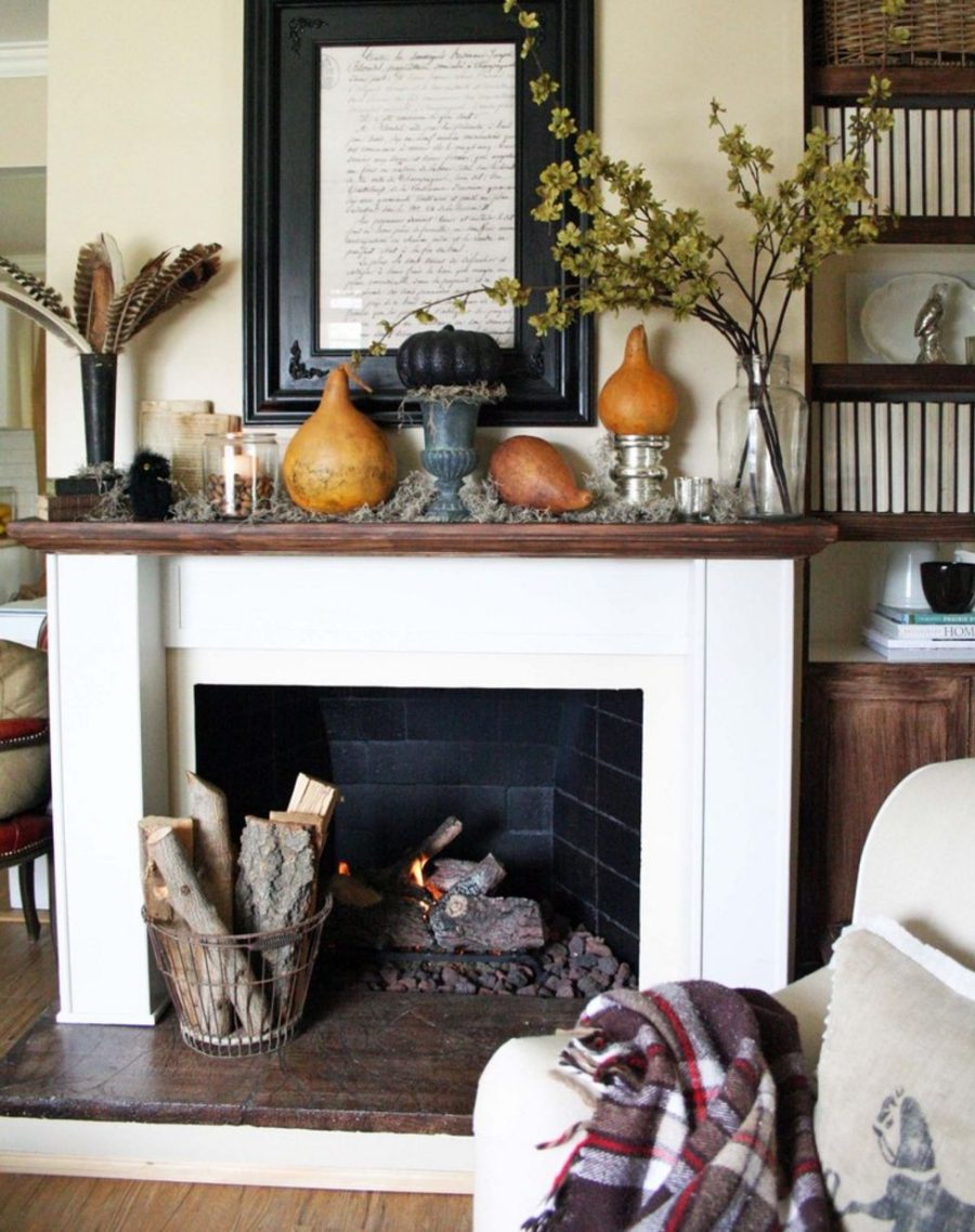 White fireplace decorated for fall 900x1138 15 Fall Decor Ideas for your Fireplace Mantle