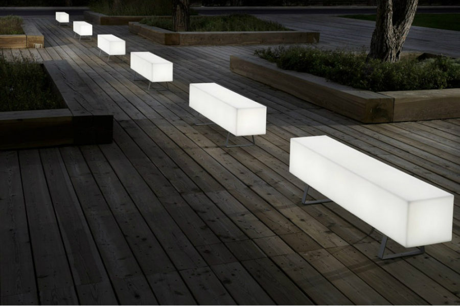 White lit Futura Bench