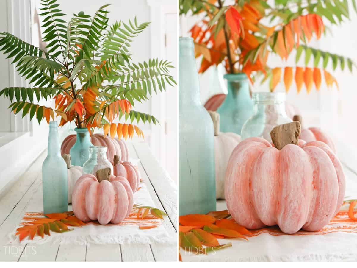 Whitewashed pumpkins