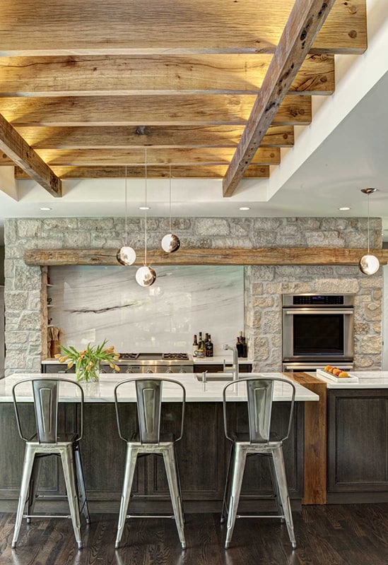 Wood accents for farmhouse kitchen