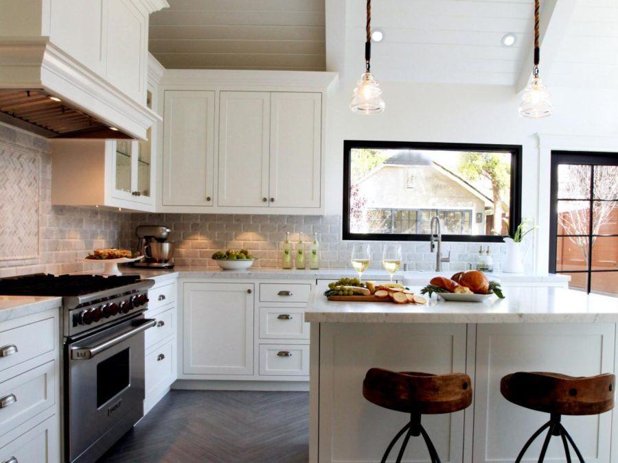 Wood floor and chevron patterns in kitchen