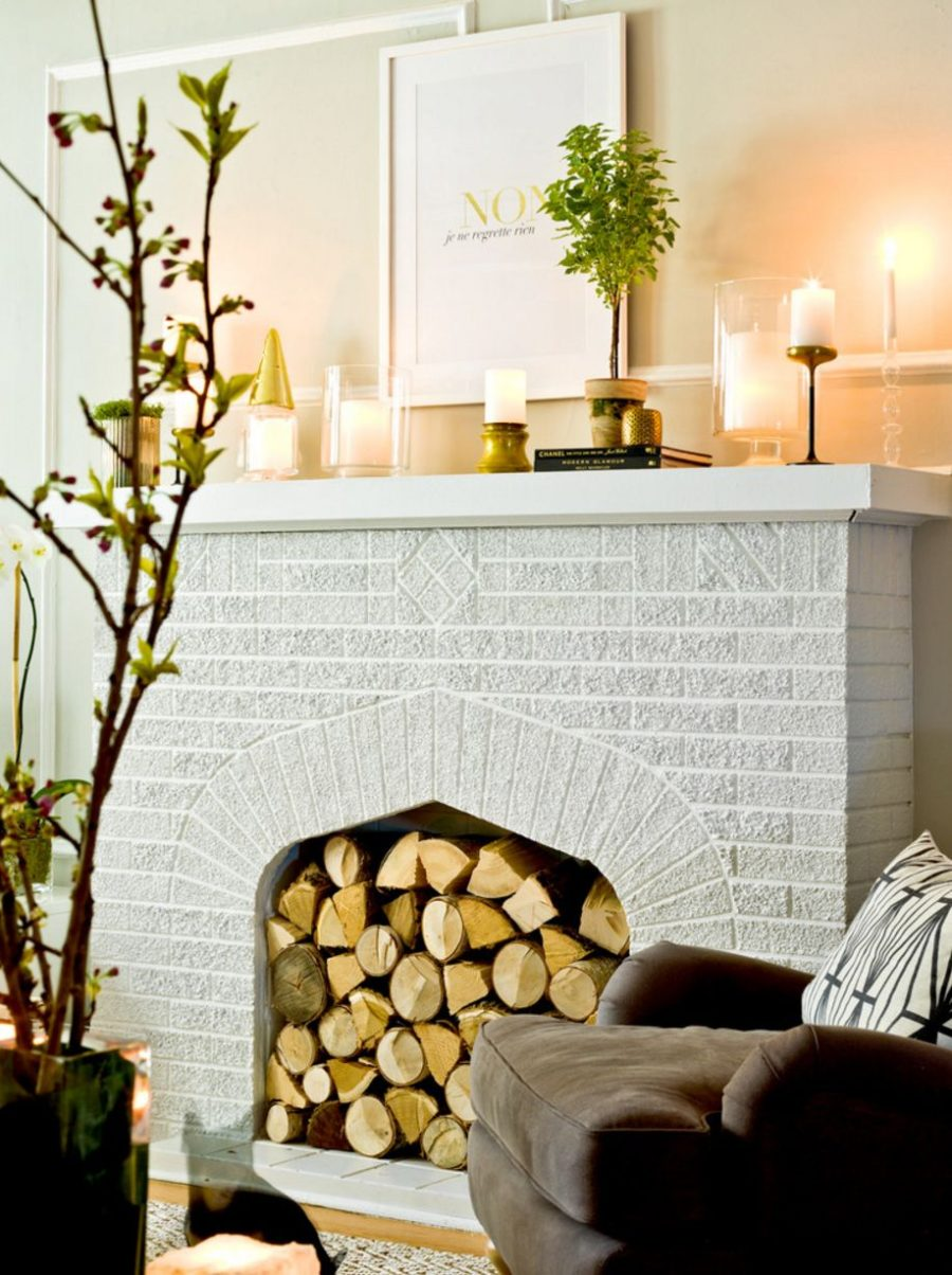 wood-logs-to-decorate-the-fireplace-for-fall