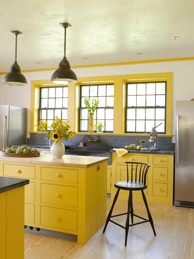 Yellow farmhouse kitchen design