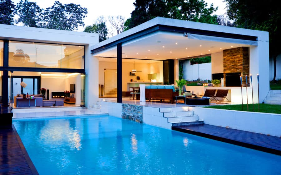 contemporary house design with pool