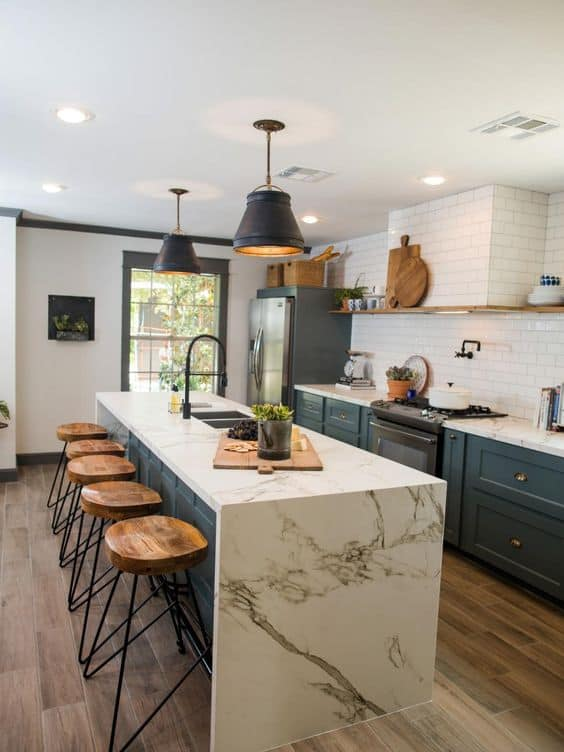 farmhouse kitchen marble countertop