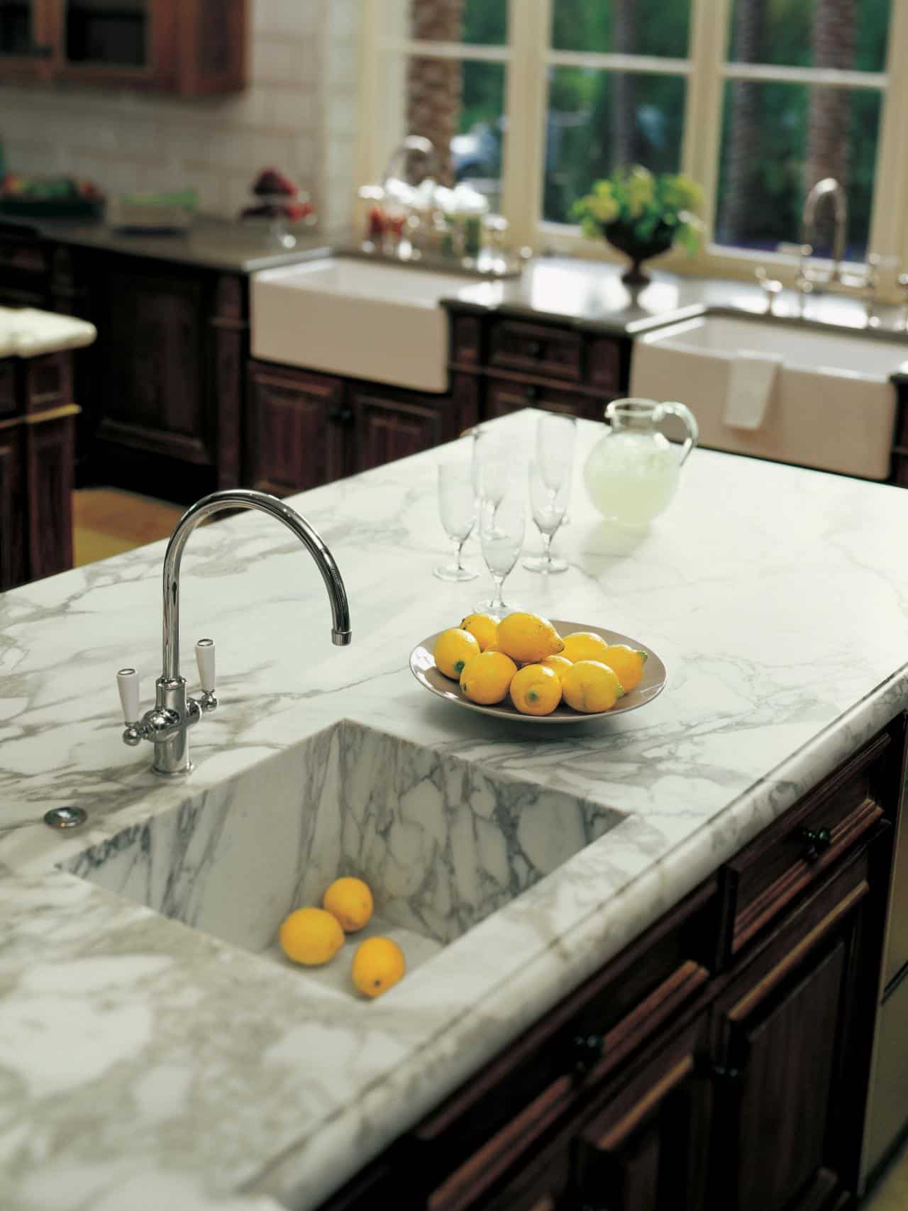 marble kitchen countertop and sink