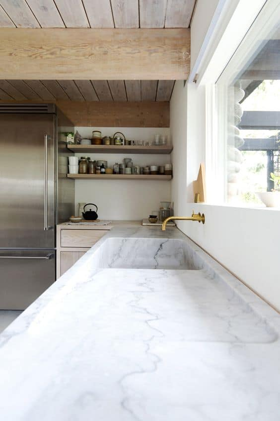 marble sink and kitchen countertop