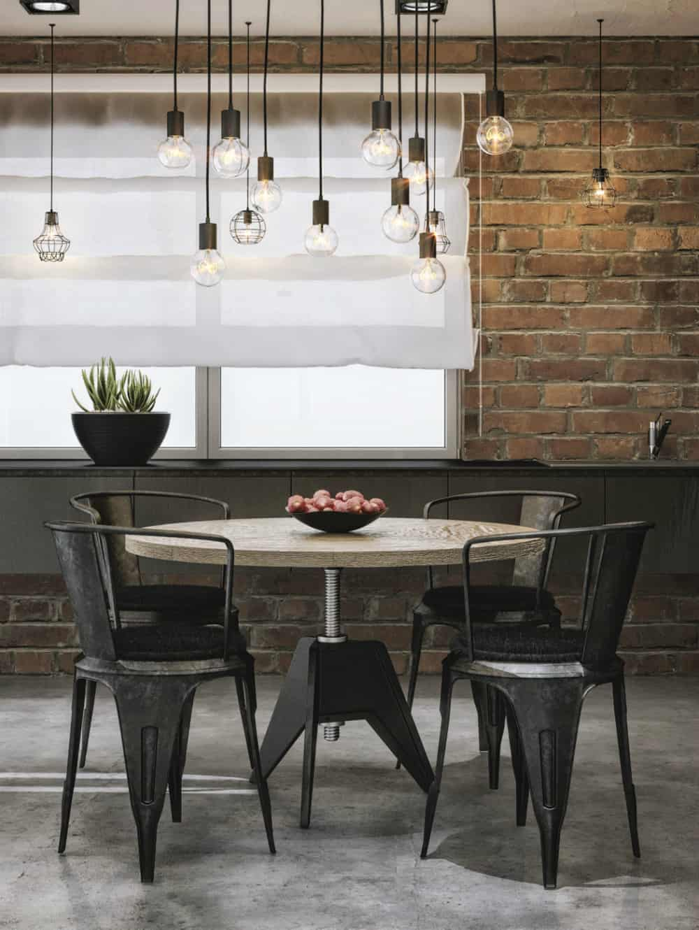 Adjustable dining table with industrial metallic chairs