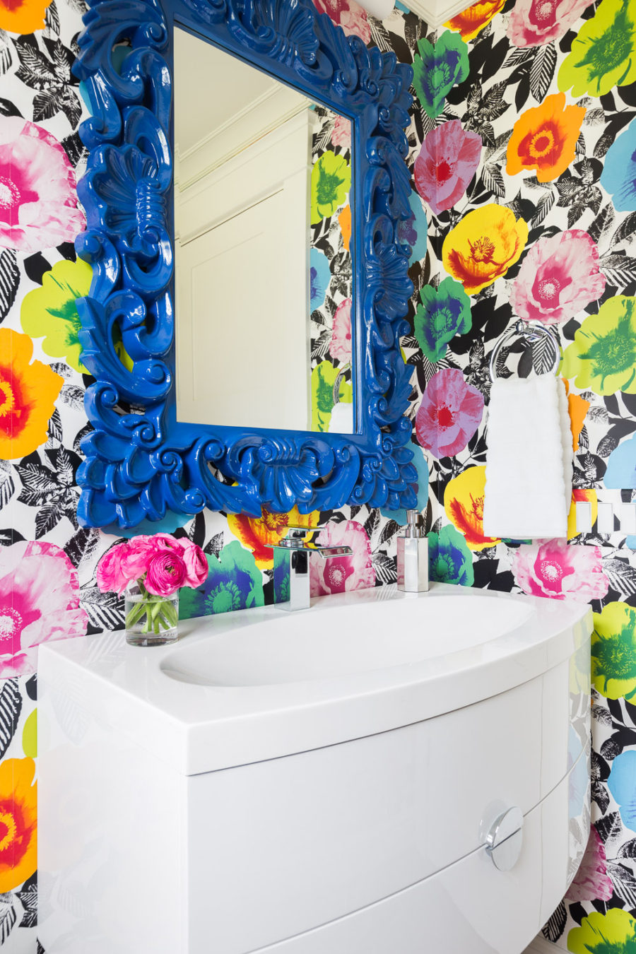 Alyssa Rosenheck bright floral powder room wallpaper