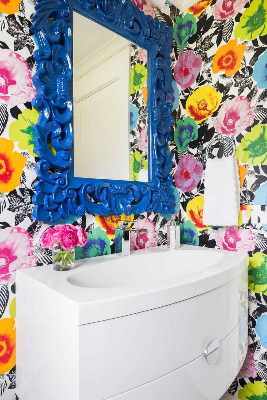 Alyssa Rosenheck bright floral powder room wallpaper