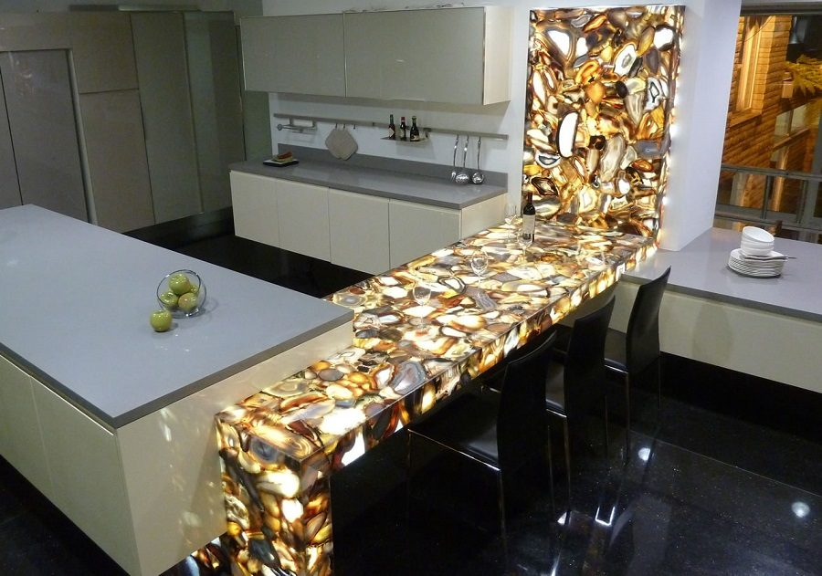Backlit brown agate kitchen countertop