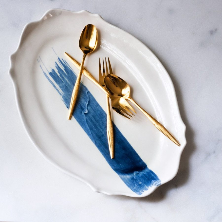 Baroque Platter in Navy Brushstroke