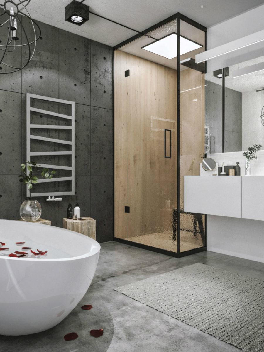 This contemporary loft project proves that industrial look can be luxe Bathroom designs for small flats in india