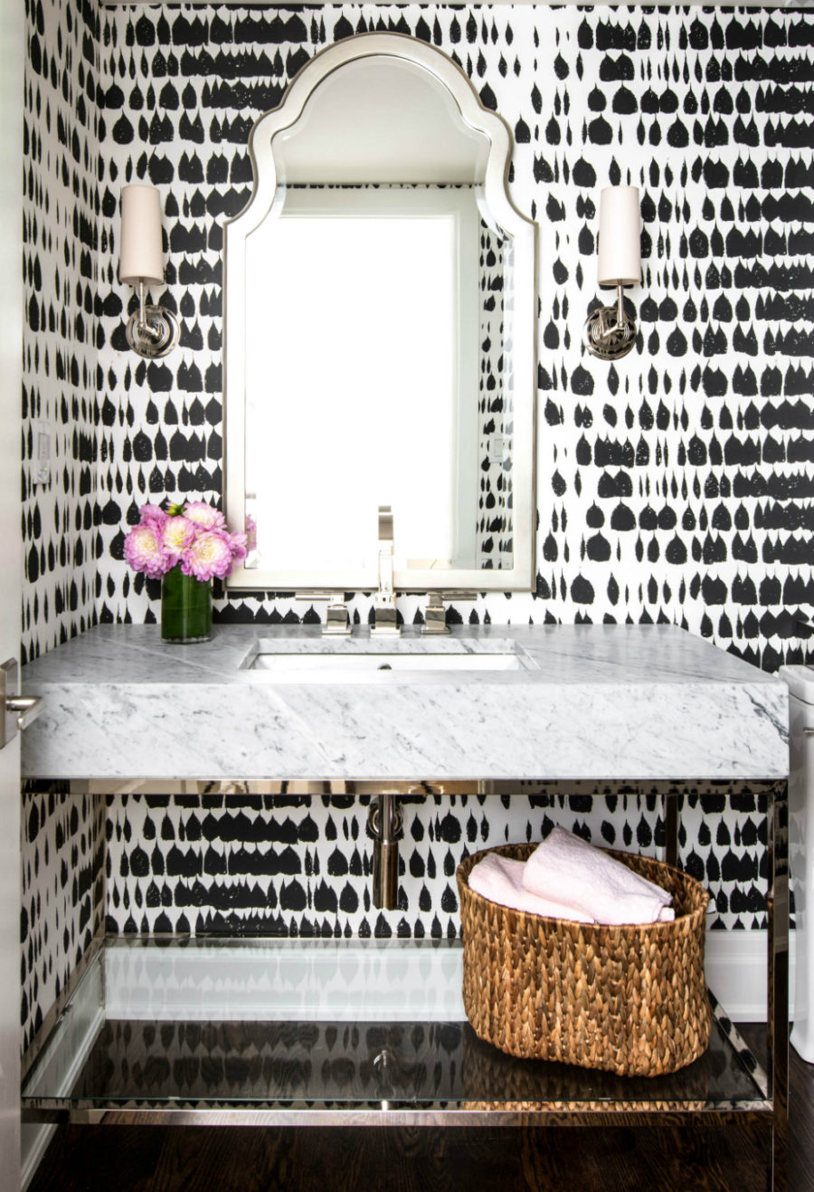 Black and white patterned wallpaper 900x1317 Unique Powder Rooms to Inspire Your Next Remodeling