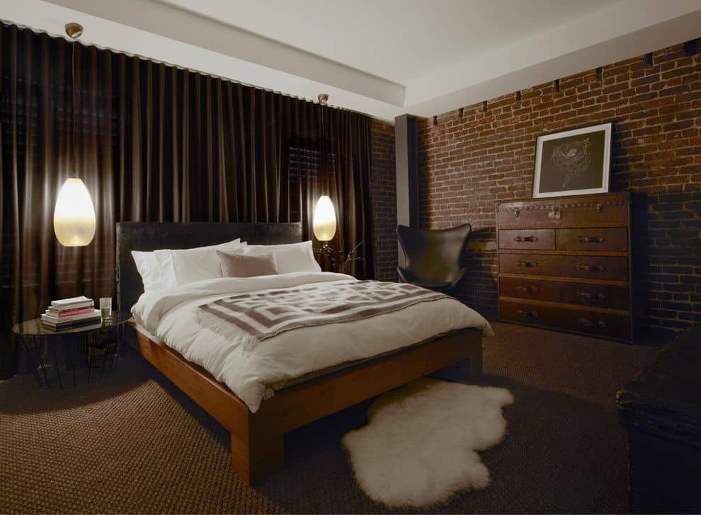 Brick exposed bedroom design