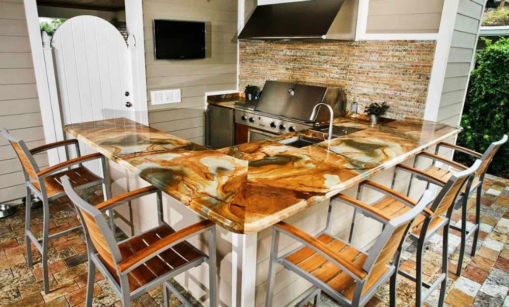 Brown onyx kitchen countertops