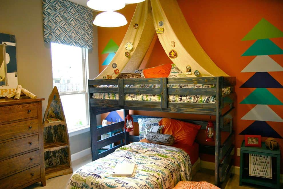 Camping style bedroom theme