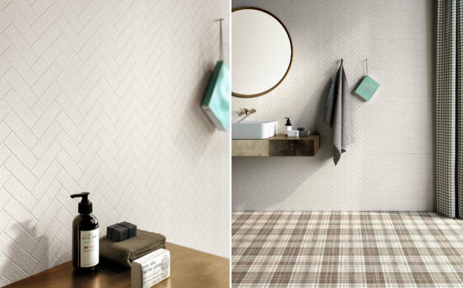 Chevron textile wall tiles