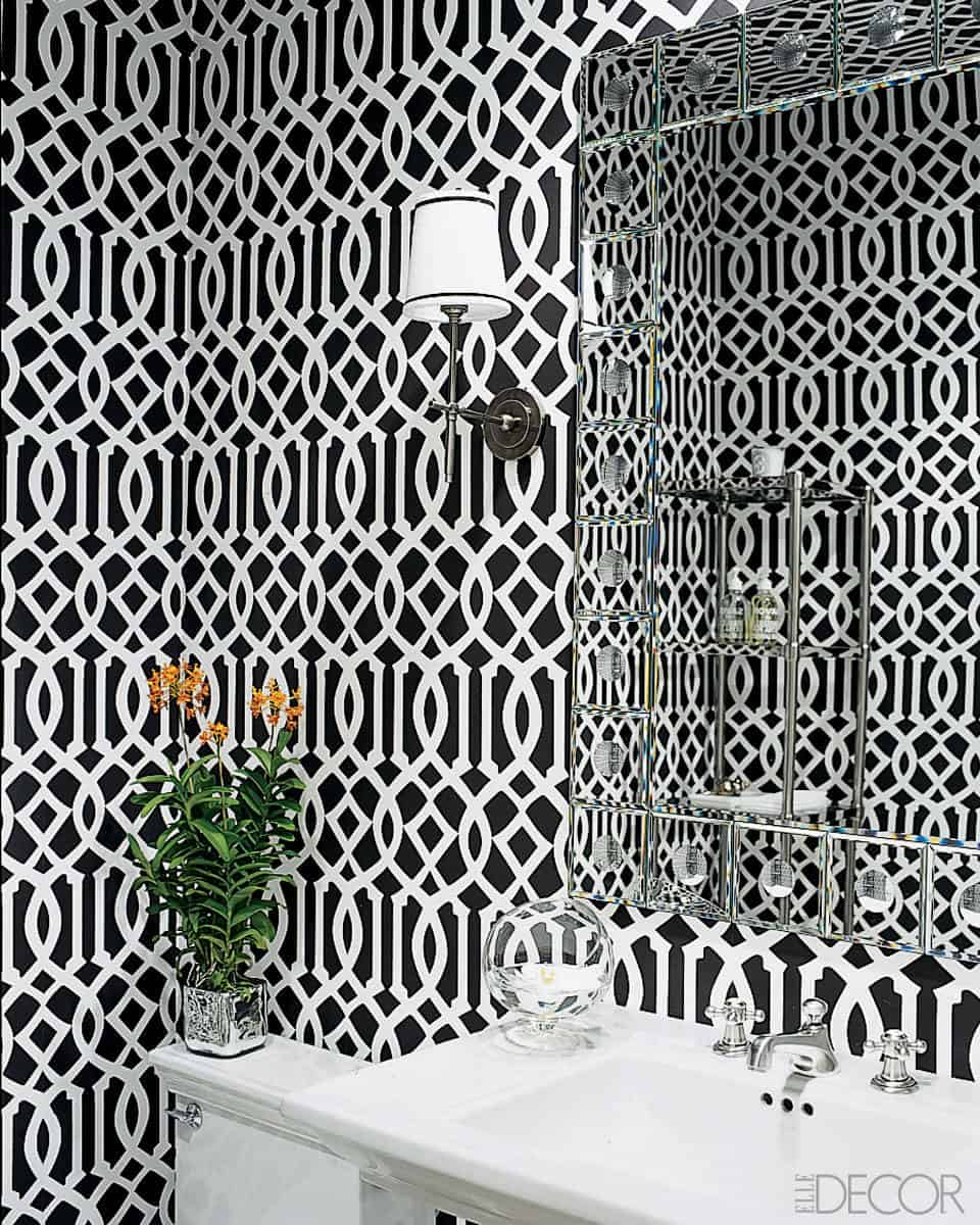 Chic black and white patterned wallpaper