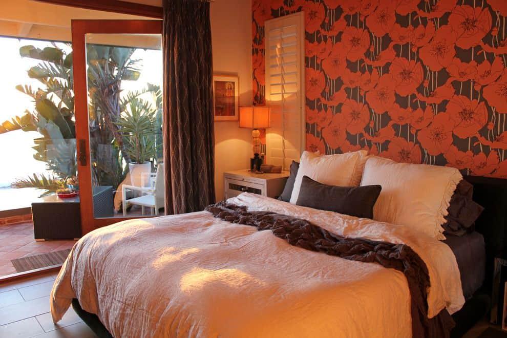 Chocolate brown wallpaper bedroom