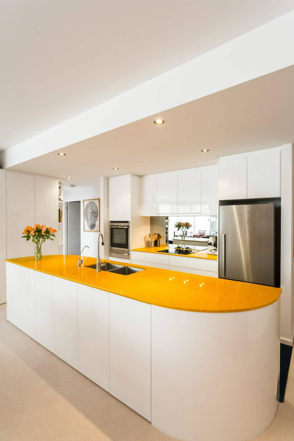 Colourful glass kitchen countertop