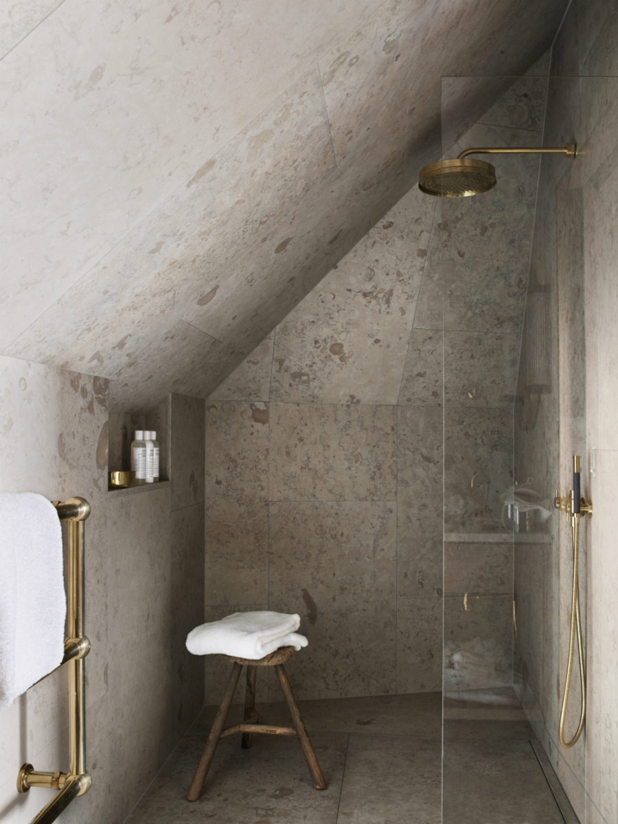 Concrete corner shower