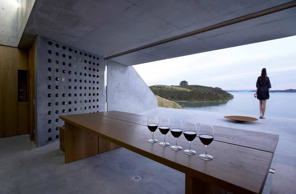 Concrete wine storage wall