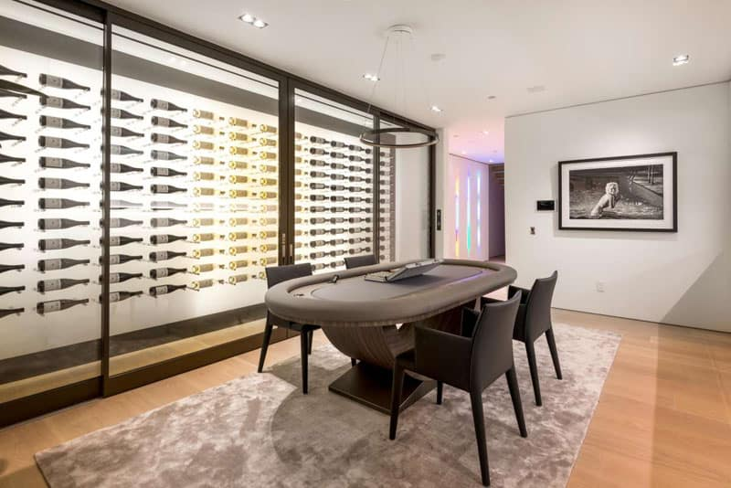 Contemporary entertainment wine room