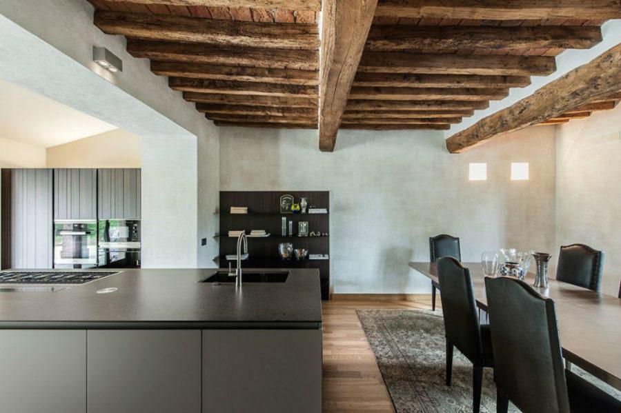 Contemporary kitchen with a massive kitchen island