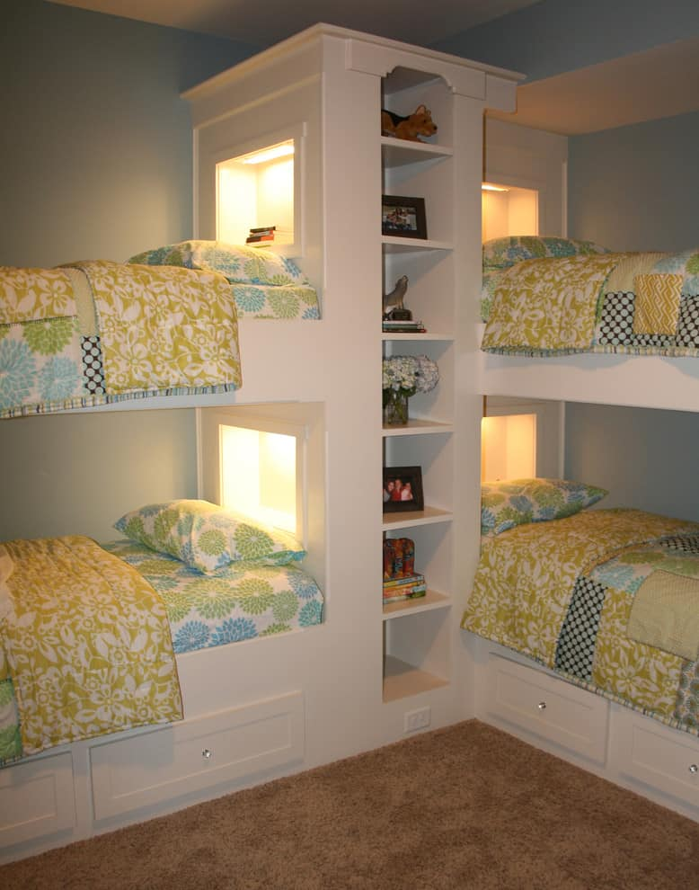Corner bunk beds storage