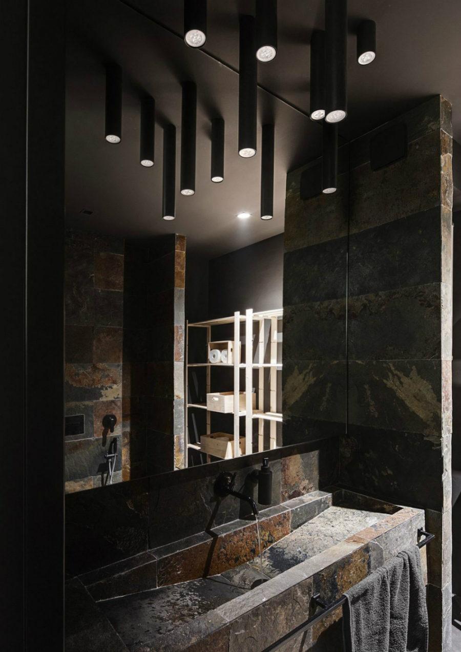 Dark stone bath