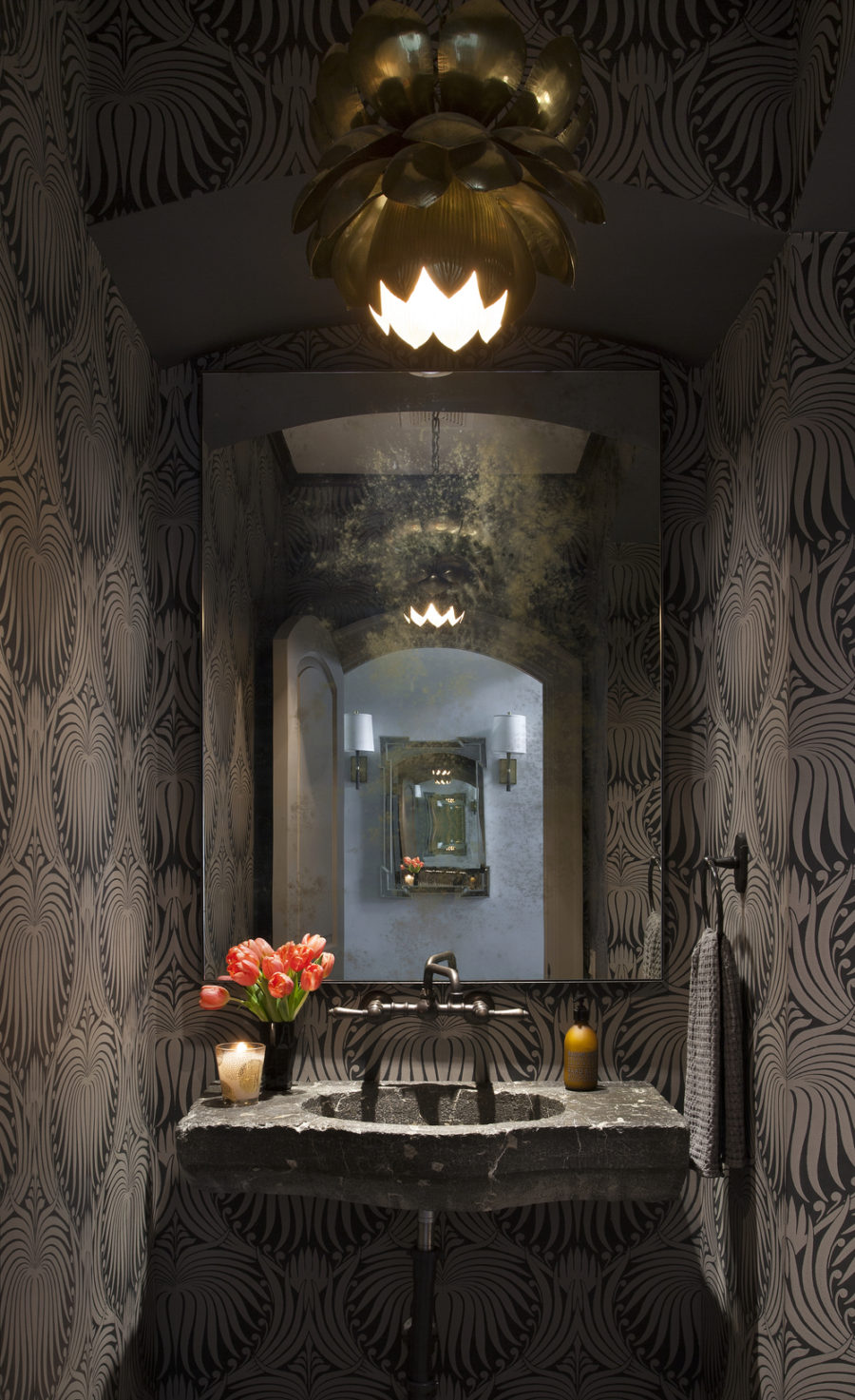 Dark stylish powder room