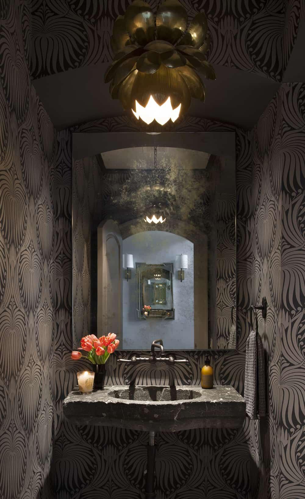 Dark stylish powder room