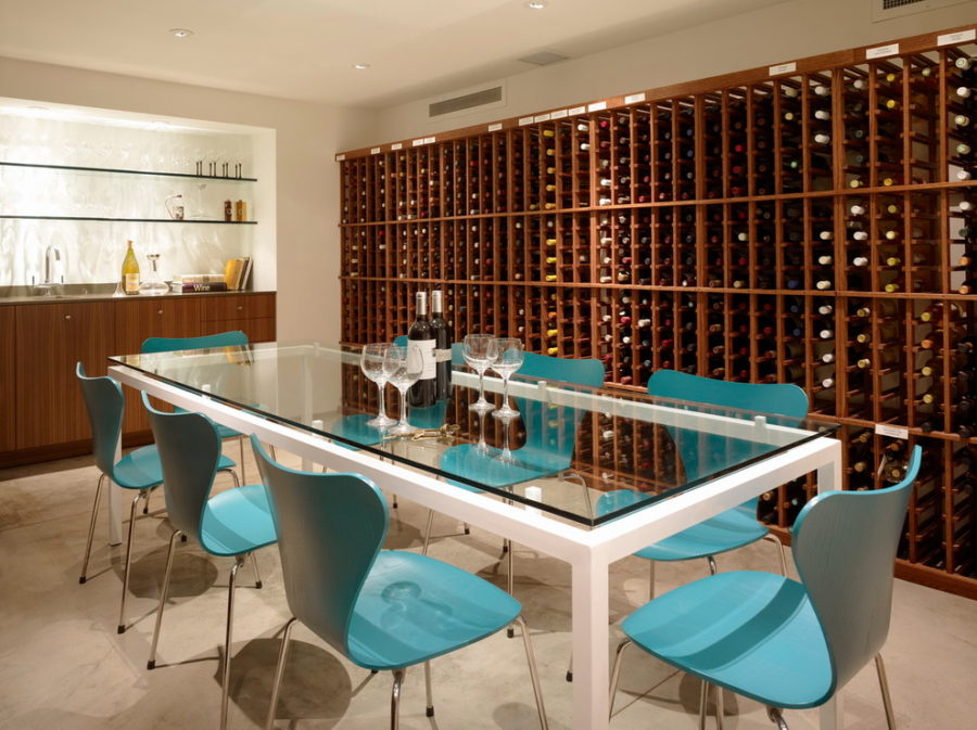 Dining room with wine storage
