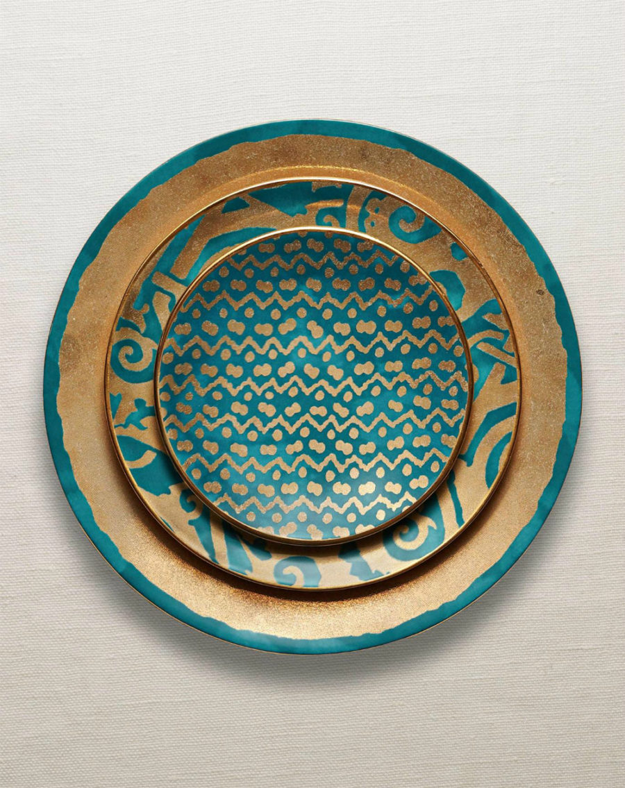 Fortuny teal dinnerware collection