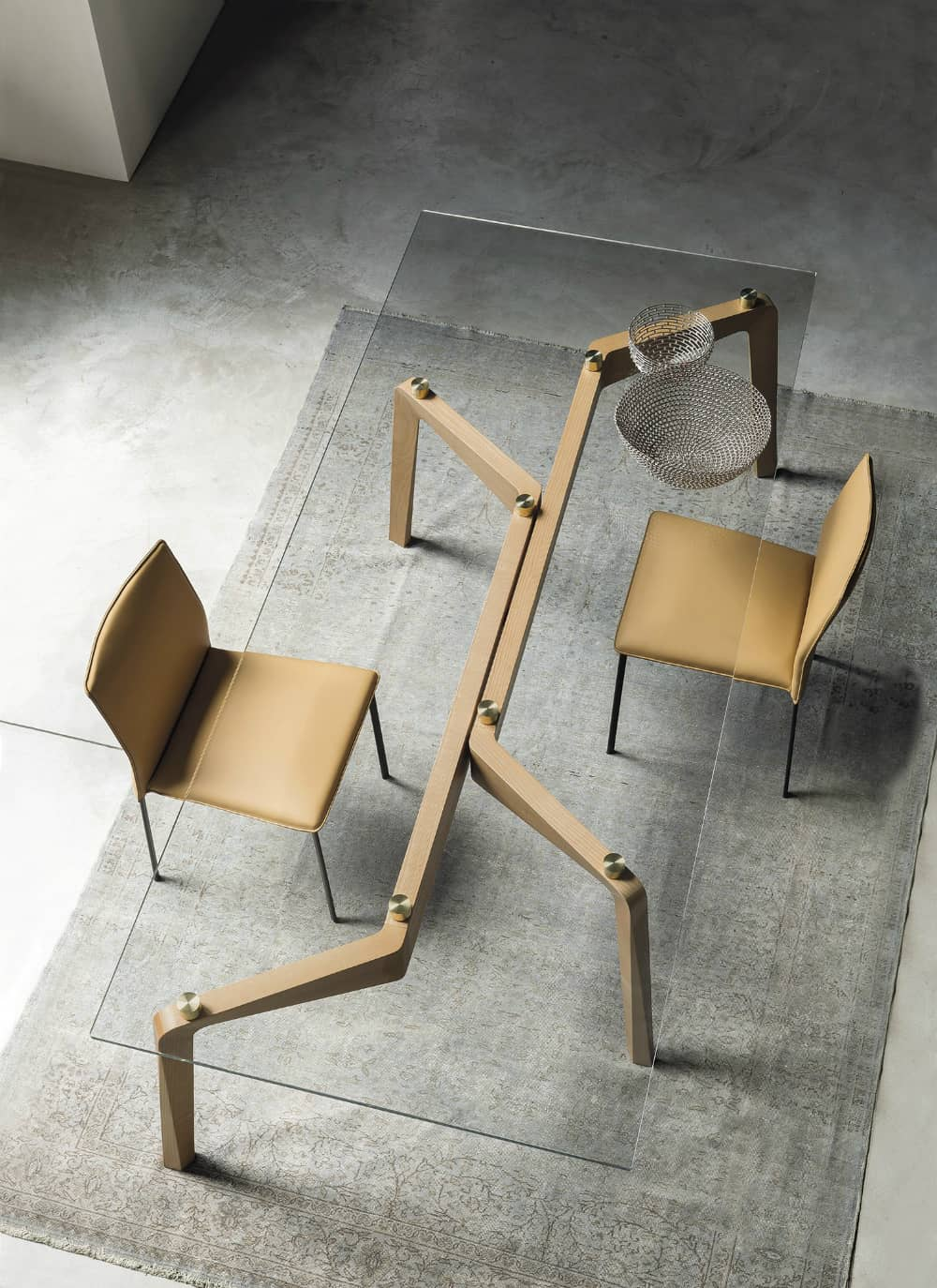 GLIDE Wood and glass table by RIFLESSI