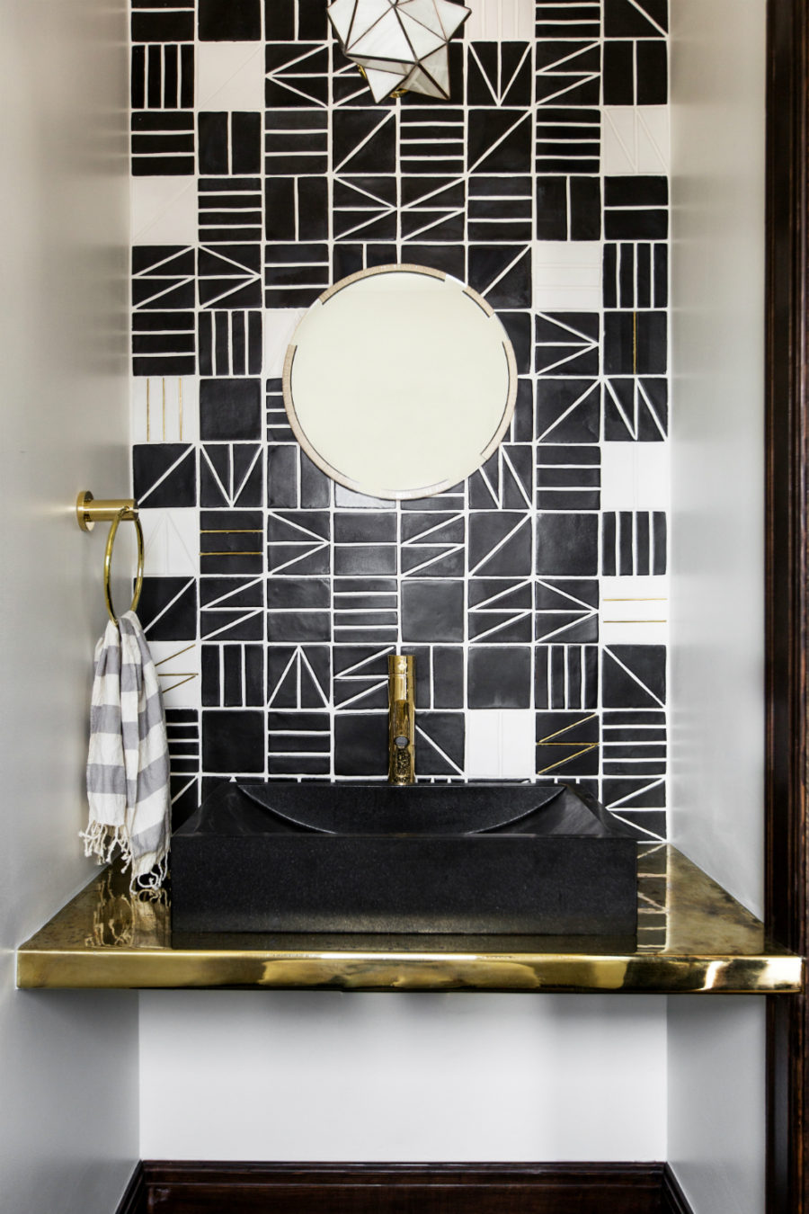 Geometric tiles in a powder room 900x1350 Unique Powder Rooms to Inspire Your Next Remodeling