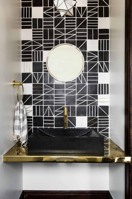 Geometric tiles in a powder room