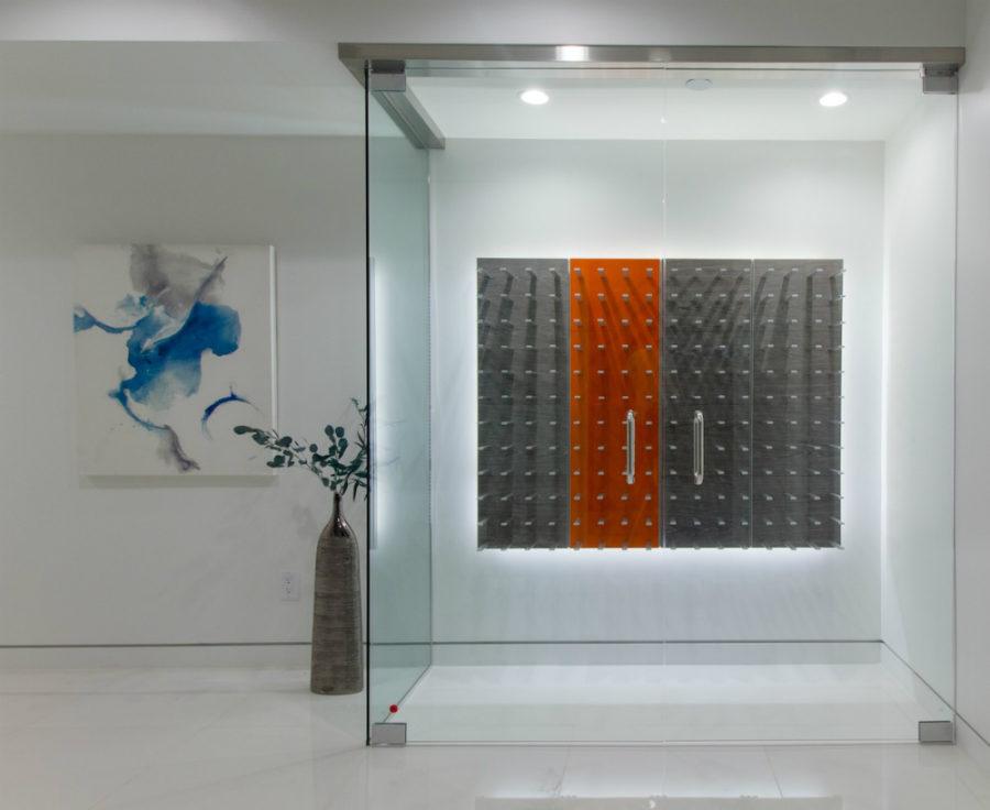 Glass-enclosed wine cellar