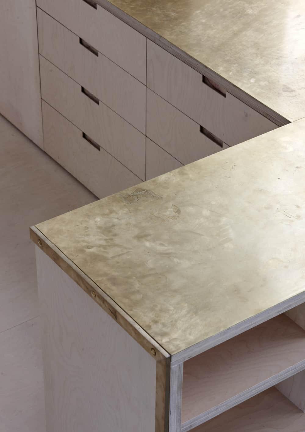 Golden brass kitchen worktop