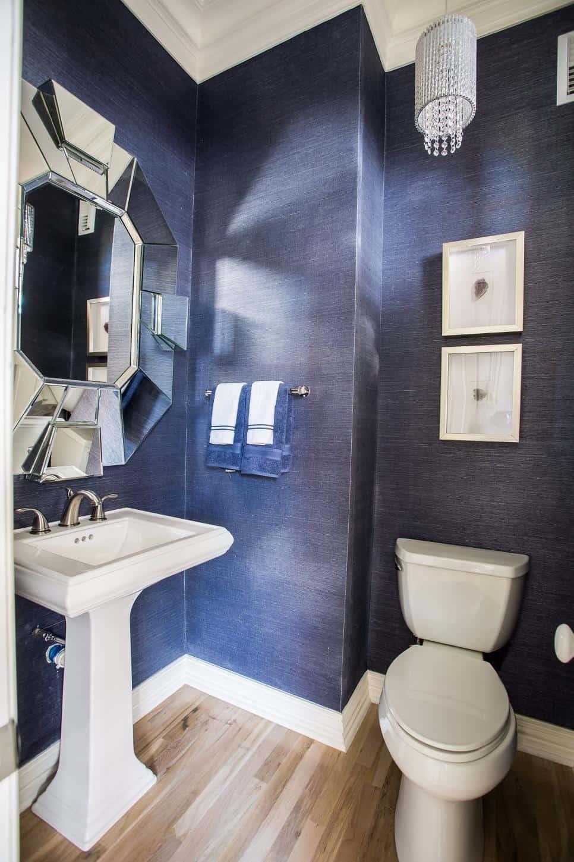 Jeans blue powder room by BeylaBlue Design