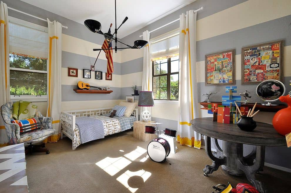 Kids contemporary bedroom with striped walls