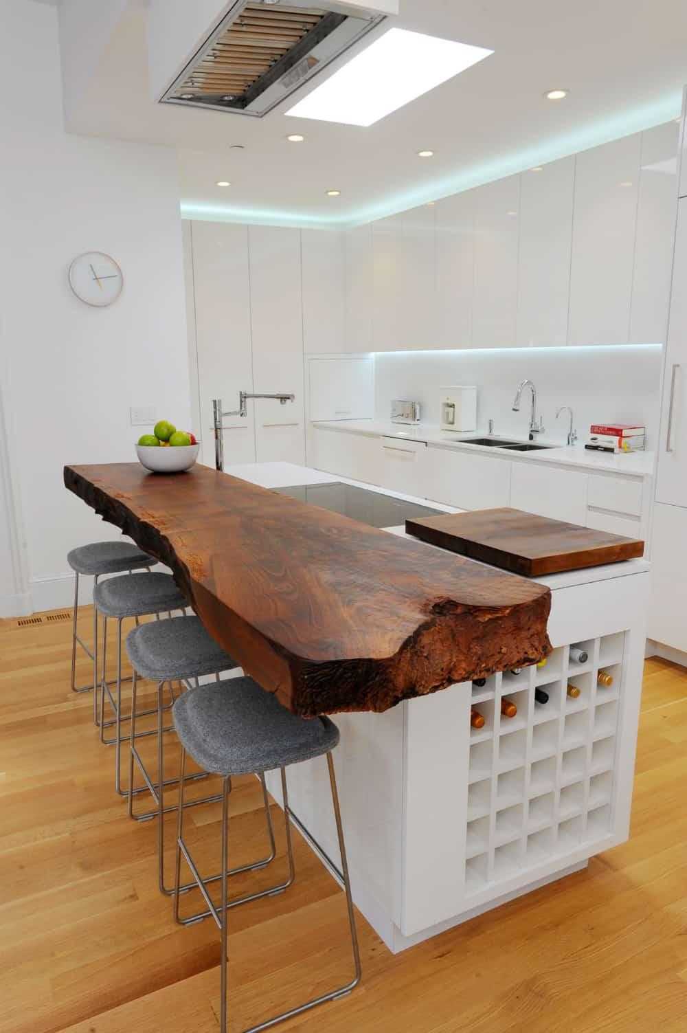 Live-edge kitchen countertop