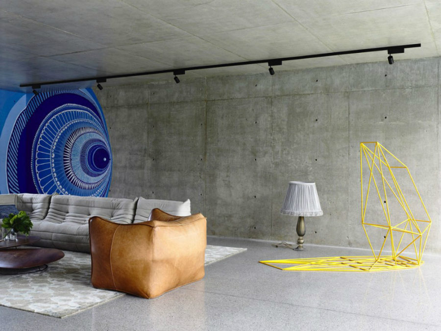 Living room with a repeating wall art