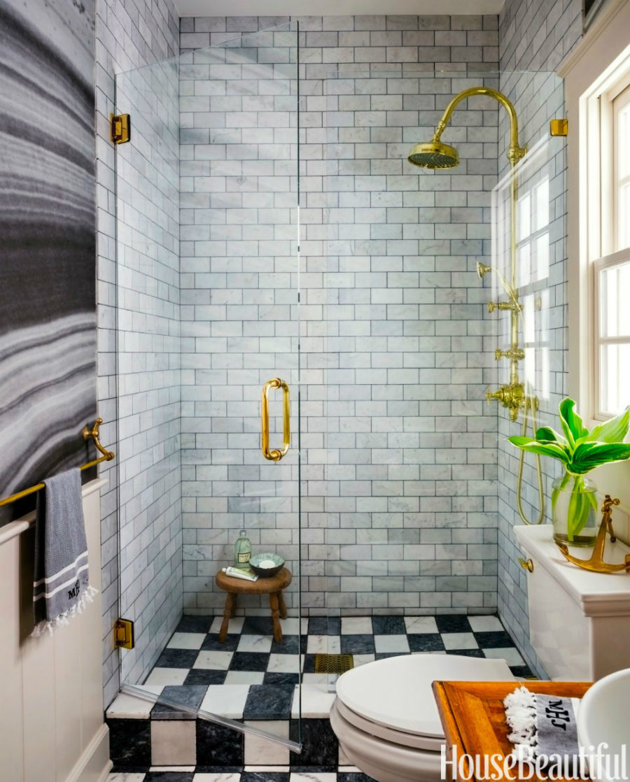 Marble subway tiles in a small shower